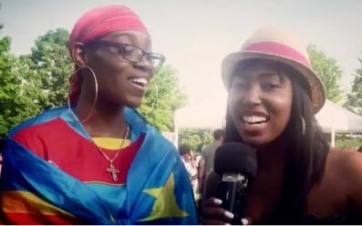 Sharma MacDonald interviewing a dancer at AfroFest 2019